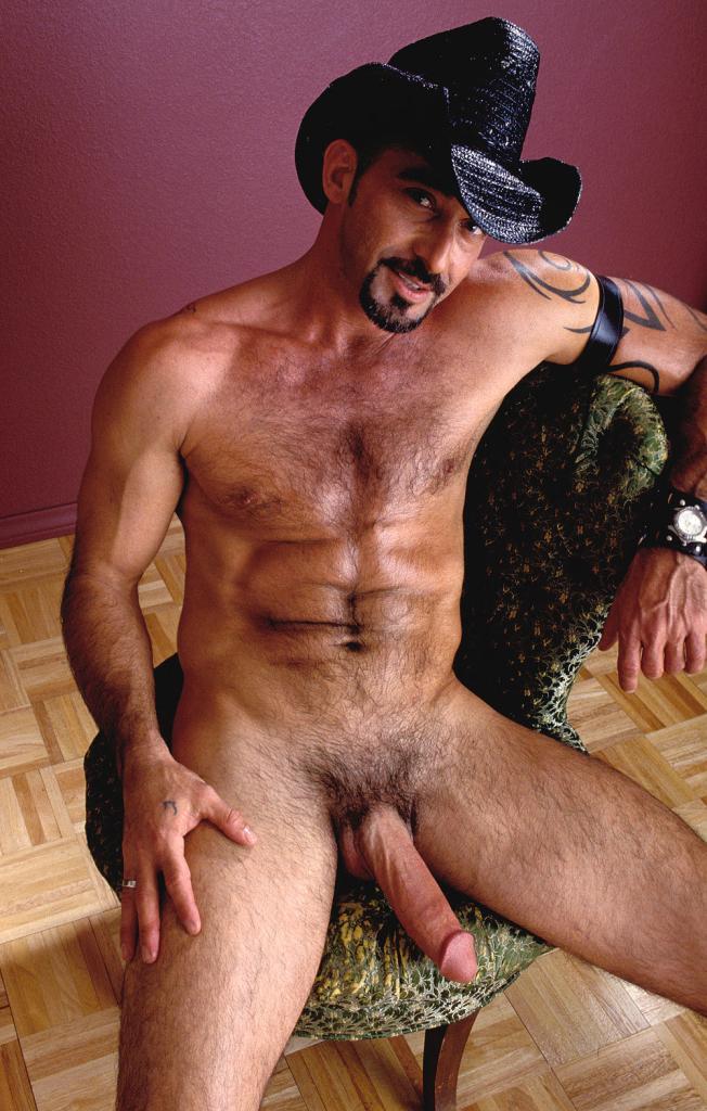 Naked hairy gay cowboy loves flashing his huge hard cock